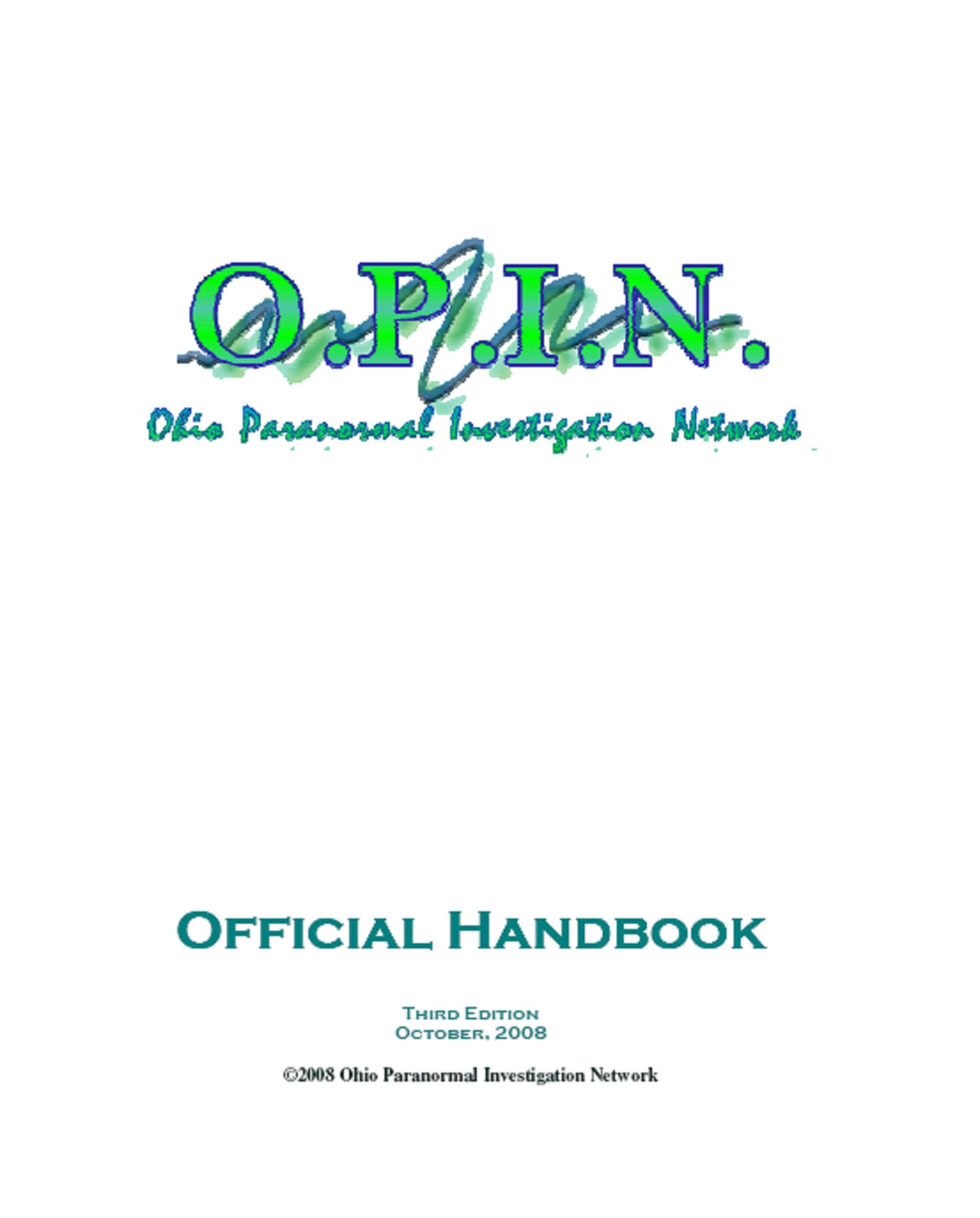 Ohio Paranormal Investigation Network Handbook